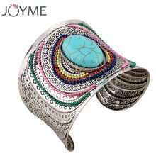 Ethnic Jewelry Big Open Wide Arm Cuff Bangle Bracelets For Women Boho Bohemia Blue Black Stone Statement Bangles Armband(China)