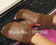 kniited Genuine Leather Fingerless Gloves mitten skin gloves LEATHER GLOVES 12pairs/lot #3137