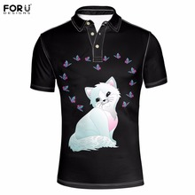 FORUDESIGNS Brand Men Casual Polo Camisa Polos Funny 3D Cat Dog Animal Mens Polo Ralphmen Homme Tommys Summer Short Sleeved 2017