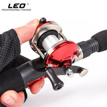 LEO Mini Fishing Drum Reel Right Hand with 50M Fishing Line Lake River Ice Fishing Reel 3.5:1 Speed Ratio 90g Red Blue(China)