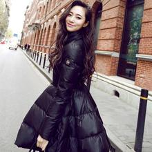 New Women Winter Down Jackets Cotton Padded Warm Long Slim Coat And Jacket Female Big Swing Yellow/black Ladies Snow Outwear