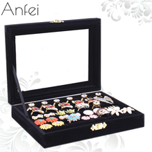 Small Jewelry Velvet Box Glass Cover Ring Storage Box Stud Earring Casket Stud Earring Jewelry Holder Accessories display A191-4(China)