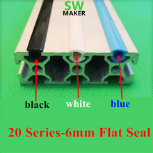 CNC C-Beam machine DIY parts 20 series 6mm flat seal for 2020 aluminum profile soft Slot Cover/ Panel Holder black/white/blue(China)