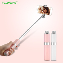 FLOVEME Mini Extendable Selfie Stick Lipstick For iPhone Samsung For Android Wired Hidden Button Camera Monopod Selfie Stick(China)