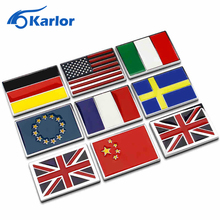 USA UK Gremany France Italy Sweden National flag emblem DIY metal car sticker  body cover  car Tail box labeling car styling