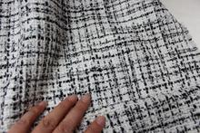 free ship wool tweed fabric black and white  weaved pattern price for 1 yard 57""