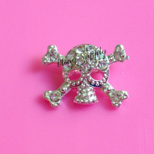 Free shipping 22*16mm skull rhinestone embellishment button with slider for hair bow center 100PCS/lot(BTN-5330)