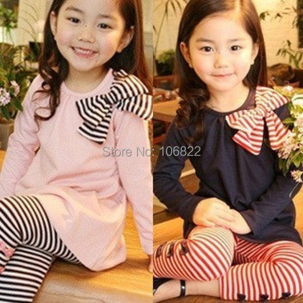 Lovely Pinks&amp;Blues Girls Long Sleeve Shirts Bow Striped Leggings Suit Sets 3-8Y<br><br>Aliexpress