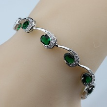 925 Sterling Silver Now Hot Selling Green Created Emerald Bracelet Health Fashion  Jewelry For Women Free Jewelry Box SL129