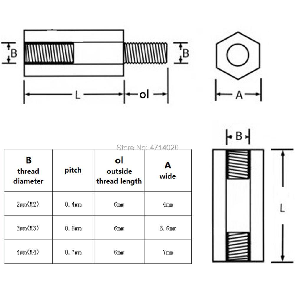 50pcs Black Plastic Nylon M2 M3 M4 Hex Column Standoff Spacer Phillips Screw