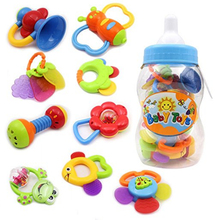 pudcoco Rattles Kids Toys Chidren's Baby Toys Giant Milk Bottle Grasp 9pcs teether hanging strollers sound toys christmas gift