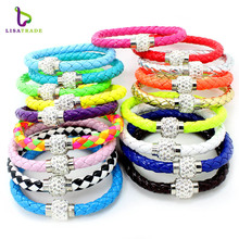 2017 Brand New Fashion 12Pcs/Lot Wholesale Hot PU Leather Bracelet & Disco Ball Crystal Magnetic Clasp Bracelet LSBS09-0*12(China)