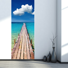 Seaside Wooden Pier Pattern Imitation 3D Door Paste Living Room Bedroom TV Sofa Background Wall Door Decoration Stickers