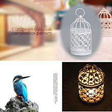 Hollow out Vintage Bird Cage Candleholder Candle Light Holder Candlestick Wedding White Metal Decor