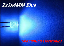 100pcs 2x3x4 Blue led light emitting diode super bright water clear