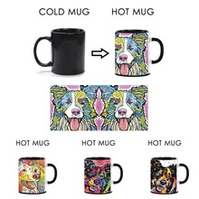 Cute Coffee Mugs Border Collie Heat Activated Mugs Art Dog Funny Milk Mug Color Changed Magic Mug Animals Tea Ceramics Cups