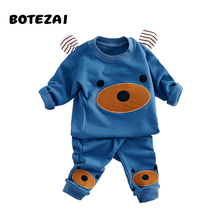 Children Clothing 2017 Autumn Winter Girls Boys Clothes Cartoon bear T shirt Pants 2pcs Kids Sport Suit Baby Boy Clothing Sets(China)