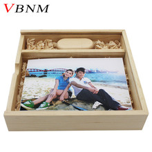 VBNM free LOGO Wooden Photo Album usb + Box usb flash drive Memory card Pendrive 8GB 16GB for Photography Wedding video gift