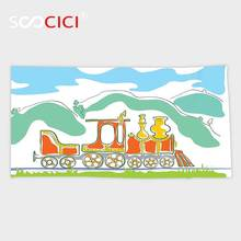 Custom Microfiber Ultra Soft Bath/hand Towel,Steam Engine Colorful Small Old Train in Country Retro Kids Art Vintage Cartoon
