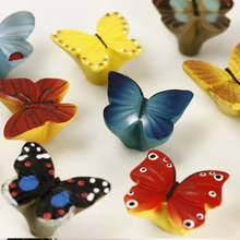 Colorful Butterfly Hand-painted Resin Knob  Kitchen Cupboard Cabinet Door Knob Kid's Room Furniture Hardware Cartoon Handle Knob