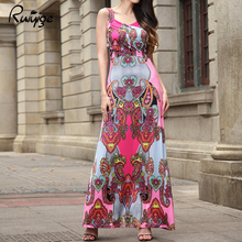 Women Vintage Beach Dress 2017 New Fashion Summer Sexy V Neck Strap Casual Maxi Dress Elegant Off Shoulder Floral Print Dress