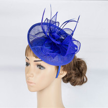 Classic European Style Orange Hot Pink Royal Blue Women Tea Evening Party Fascinator Headband Flower Sinamay Feather Headdress