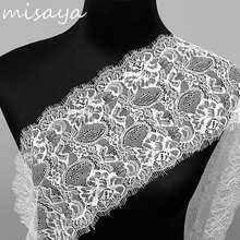 Misaya 3Yards/lot Eyelashes Lace Trim Flower Black White High Quality Lace Fabric Handmade DIY Clothes Accessories Width 17.8CM