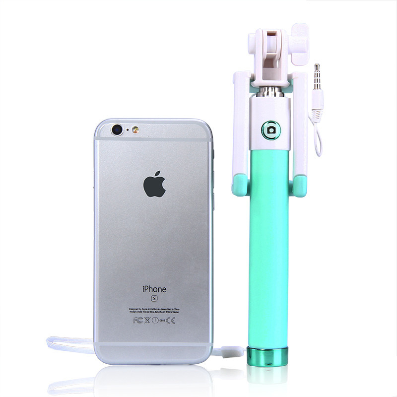 Mini Selfie Stick With Button Wired Silicone Handle Monopod Universal For iPhone 6 5 Android Samsung Huawei Xiaomi Sticks (9)
