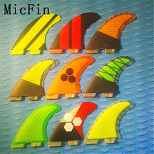 Micfin fiberglass and honeycomb surfboard fin thruster FCS 2 fin surf fins FCS II BOX size M Three set(China)