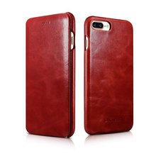 iCarer Luxury curved surface Retro Flip case for iPhone 7 plus Genuine Cowhide Mobile Phone bags cases