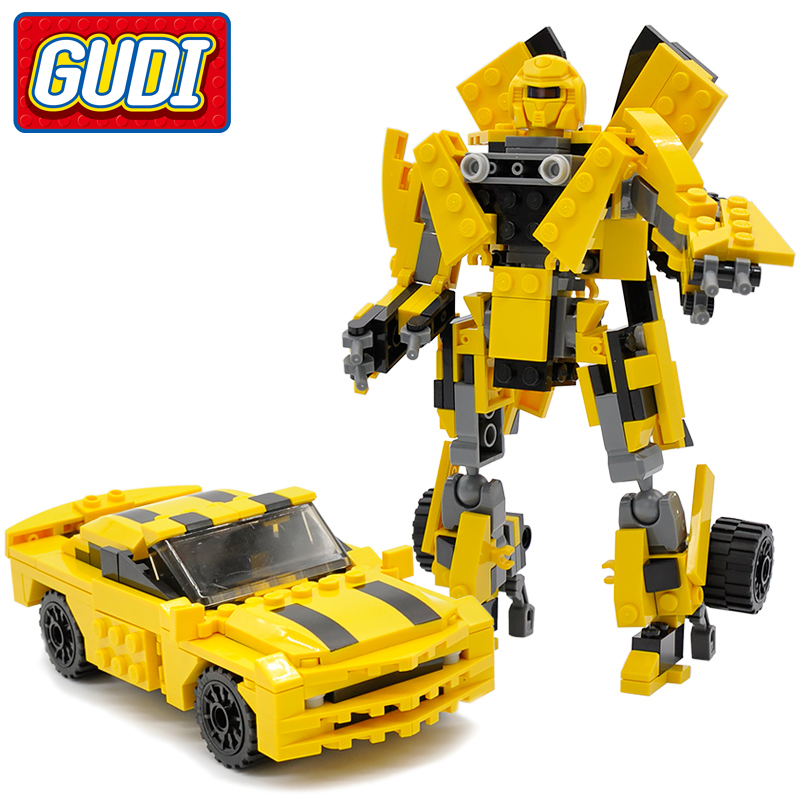GUDI Yellow Transformation Robot Building Blocks Toys For Children 225 pc brickS Children Learning Intelligence Gift