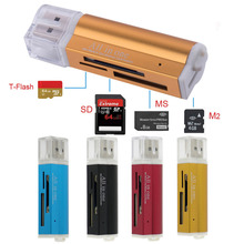 4 in 1 High Quality USB 2.0 high speed Universal Micro USB Multi Memory Card Reader for T-Flash MMC TF M2 Memory Stick
