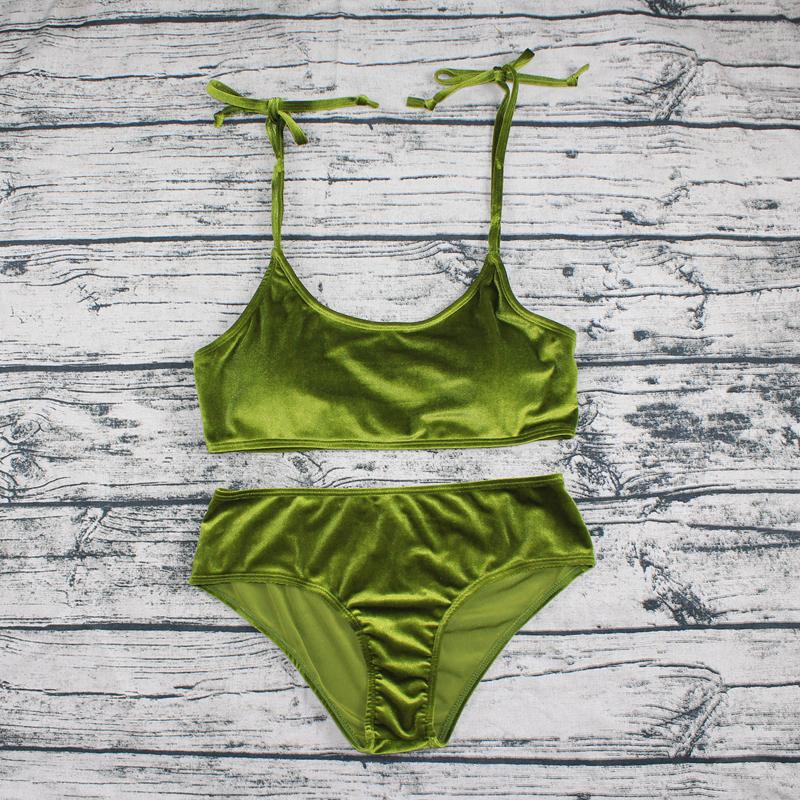 Sexy Brazilian Bikini 17 Blue Velvet Swimwear Women Swimsuit Push up Biquini Halter Bikinis Set Bathing Suit Maillot De Bain 24