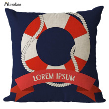 Vintage Sea Solider Blue Helm Cushion Cover Anchor Boat ocean Marine Linen Throw Pillows PillowCase 45x45cm Home Decorative