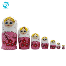 7PCS Wooden Matryoshka Doll Pink girls Wooden Russian Nesting Dolls Gift Matreshka Handmade Crafts for Kid gifts table game(China)