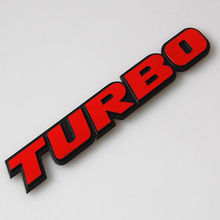 BBQ@FUKA Car Metal 3D RED TURBO Rear Emblem Badge Decal Sticker Fit For Granta KIA K3 K5 Rio Ford Focus VW Golf Skoda Seat ect(China)