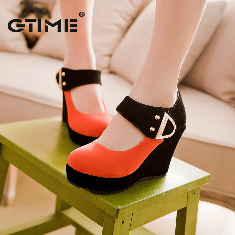 GTIME 2017 New Arrival Women Pumps Spring Autumn Casual Platform Shoes Wedges Heels Flock Sequined Beige Red Plus Size 43 #ZWS93<br><br>Aliexpress