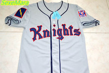 SexeMara Roy Hobbs #9 New York Knights The Natural Grey Movie Stitched Baseball Jersey Button Down Throwback Mens Jerseys(China)