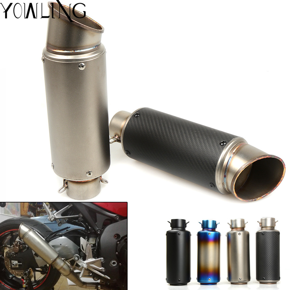 Universal 51mm 61mm Universal Motorcycle Exhaust Muffler Modified Exhaust Stainless Steel Carbon Fiber Fit Most Motorbike