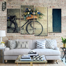 Painting Canvas Wall Art Nostalgic Style Bike  4 Panel Home Decor Modular Pictures Oil Painting for Living Room Wall No Frame