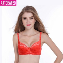 Brand Women Sexy Bra Floral Lace Embroidery Transparent Super Thin Underwear Breathable Bra 75 80 85 90 AB Cup(China)