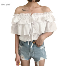 Women Clothing Ruffle Off Shoulder Tops Beach Summer Blusas Solid Chiffon Blouse Slash Neck Loose Short Sleeve Sexy Shirts Y256(China)