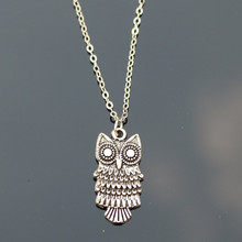 N775 Retro Silver Owl Necklaces Bijoux Collares For Women Animal Pendant Necklace High Quality 2017(China)