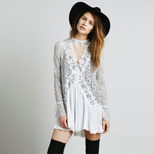 2017 Free ship cotton mini short dresses lace irregular dress people Patchwork sexy short dress boho hippie style vestidos dress