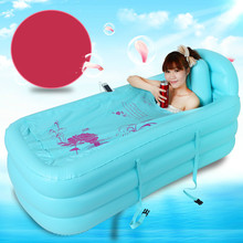 Heat preservation thickening inflatable adult bathtub folding tubs bath bucket blue pink Free shipping(China)