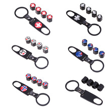 UK/Swiss/Norway Flag Stainless Steel Black Car Wheel Tyre Tire Stem Air Valve Caps With Keychain For BMW Chevrolet VW Ford