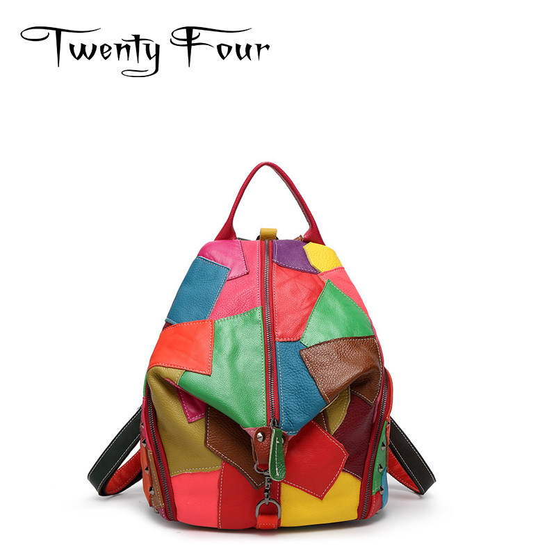 Twenty-four women backpack real genuine leather back pack panelled backpacks fashion colorful patchwork Female Personality bag<br>