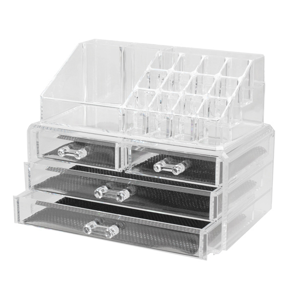 Acrylic Clear Makeup Organizers Holder Cosmetic Storage Box Make Up Case Drawer Lipstick Display Stand Makeup Tools<br>