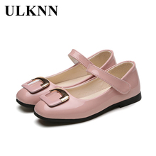 ULKNN Girls Princess Shoes Girls Leather Rubber Shoes Sweet  Rhinestones Kids Sandals Fashion  Shoes Girl pink Black White Red
