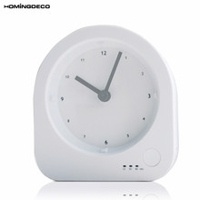 Homingdeco Mini Night Light Table Clock Child simple Modern Timing Clock Kids White 4inch USB Charging Slient Desk Clock(China)